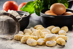 Uncooked homemade gnocchi Royalty Free Stock Image