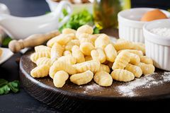 Uncooked homemade Gnocchi with a mushroom cream sauce and parsley royalty free stock photo