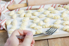 Uncooked homemade potato gnocchi Royalty Free Stock Photos