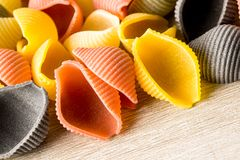 Uncooked Italian conchiglie pasta Stock Images