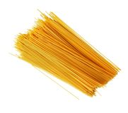 Uncooked Italian spaghetti on a white. Stock Photography