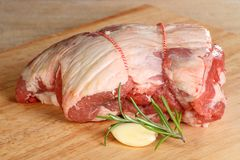 Uncooked lamb shoulder royalty free stock photo