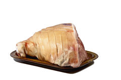 Uncooked Leg of Pork Scored and Ready for Roasting Royalty Free Stock Photo