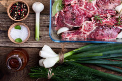 Uncooked marinated red meat steaks, top view Stock Photo