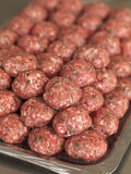 Uncooked meat balls. Prepared uncooked meat balls in a metal tray Royalty Free Stock Image