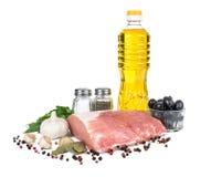 Uncooked mięso: surowy świeży wołowiny wieprzowiny ziobro i polędwicowy przygotowywający kucharz obraz royalty free