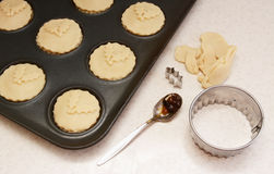 Uncooked mince pies in a bun tin Royalty Free Stock Image