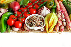 Uncooked mixed quinoa with vegetables Royalty Free Stock Images