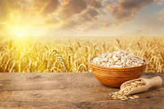 Uncooked oat flakes in bowl on table. With ripe cereal field on the background. Golden field on sunset. Uncooked porridge. Agriculture and harvest concept Royalty Free Stock Photos