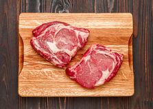 Uncooked organic shin of beef meat. On cutting board Stock Photos