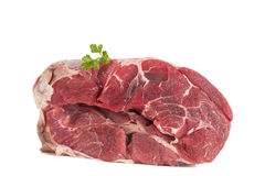 Uncooked organic shin of beef meat isolated. On a whiteboard Stock Photos