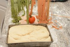 Uncooked Pasta and Bread Dough Royalty Free Stock Photography