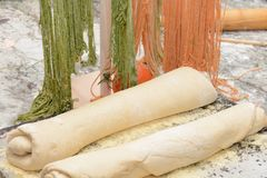 Uncooked Pasta and Bread Dough Stock Image