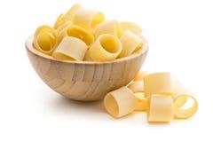 Uncooked pasta calamarata in bowl Royalty Free Stock Image