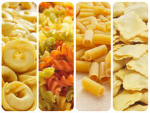Uncooked pasta collage Stock Image