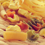 Uncooked pasta, with a filter effect Royalty Free Stock Photo