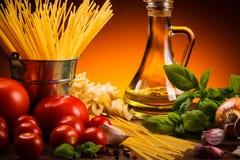 Pasta och nya grönsaker Arkivbild