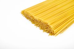 Uncooked pasta spaghetti macaroni isolated on white background Stock Photography
