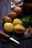 Uncooked peeled potatoes on dark background Stock Image