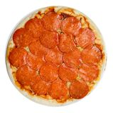 Uncooked pepperoni pizza royalty free stock photos