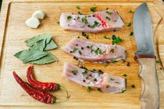 Uncooked pieces of silver carp fish with red chile pepper, bay leaf, garlic, spices and knife on wooden board Stock Photos