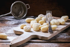 Uncooked potato gnocchi Royalty Free Stock Photography