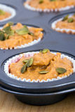 Uncooked pumpkin muffins Royalty Free Stock Image