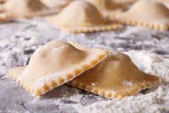 Uncooked ravioli on a floured table macro. horizontal Royalty Free Stock Image