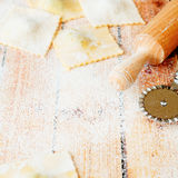 Uncooked ravioli with ricotta and spinach Royalty Free Stock Photography