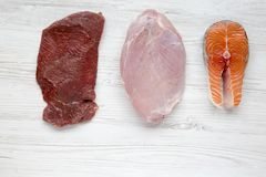 Uncooked raw beef meat, turkey breast and salmon steak on white wooden background, top view. Flat lay. Copy space Royalty Free Stock Photos