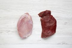 Uncooked raw beef meat and turkey breast on white wooden background, top view. Flat lay. From above Stock Photos