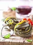 Uncooked Ribbon Tagliatelle Pasta Royalty Free Stock Photo