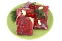 Uncooked ribs on wood Stock Photos