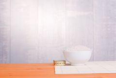 Uncooked rice on board diet food. Uncooked rice  board diet food Royalty Free Stock Photography