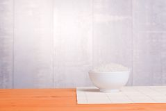 Uncooked rice on board diet food Royalty Free Stock Images