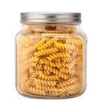 Uncooked Rotini in a Glass Jar Royalty Free Stock Photography
