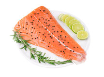 Uncooked salmon fillet with lime and herbs. Isolated on a white background Stock Images