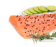 Uncooked salmon fillet with lime and herbs. Whole background Royalty Free Stock Photo