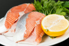 Uncooked salmon on plate Royalty Free Stock Image
