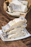 Uncooked salted cod on fishing nets Stock Photos