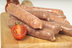 Uncooked sausages Stock Photo
