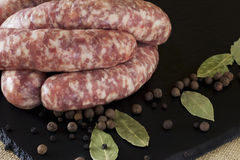 The uncooked sausages Royalty Free Stock Image