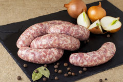 The uncooked sausages Stock Image