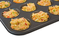Uncooked Savoury Muffins in Tray Stock Image