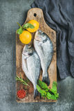Uncooked sea bream or dorado fish with lemon, herbs, spices. Fresh uncooked sea bream or dorado fish with lemon, herbs and spices on rustic wooden board over Stock Photography