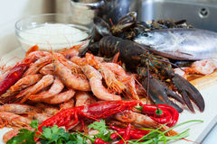 Uncooked sea food  and rice. Fresh uncooked sea food specialties and rice Royalty Free Stock Photography