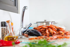 Uncooked seafood and  spices Royalty Free Stock Images