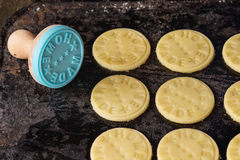 Uncooked shortbread with stamp Stock Images