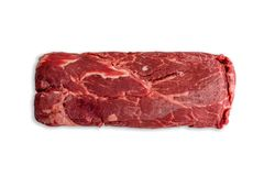 Uncooked slab of red meat over white background