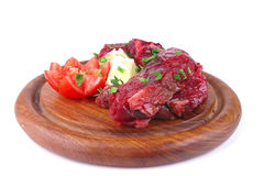 Uncooked small beef chunks Stock Photo